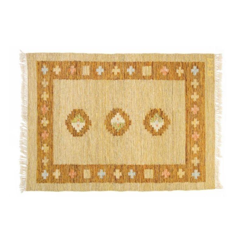 Scandinavian mid-century rug, signed. 192 x 138 cm (75.59 x 54.33 in)
