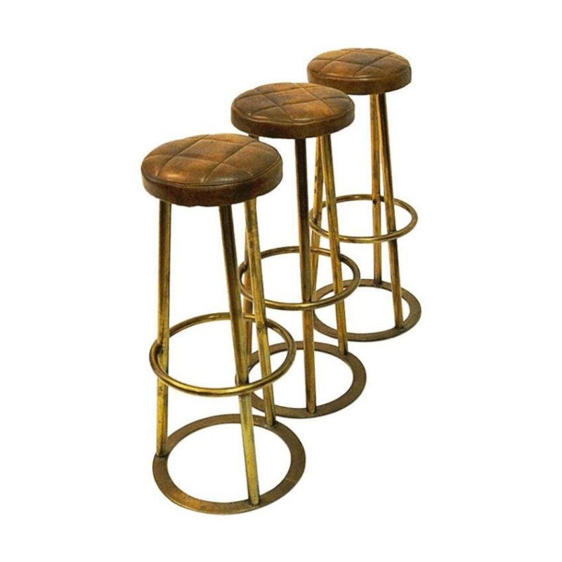 Vintage Brass and leather barstools set of three Scandinavian1950s
