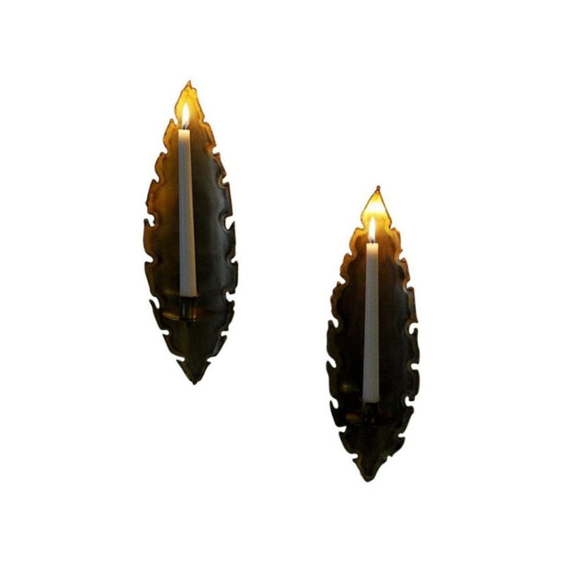 Danish pair of Brass brutalist wall candle holders by Svend Aage Holm-Sørensen, 1960s