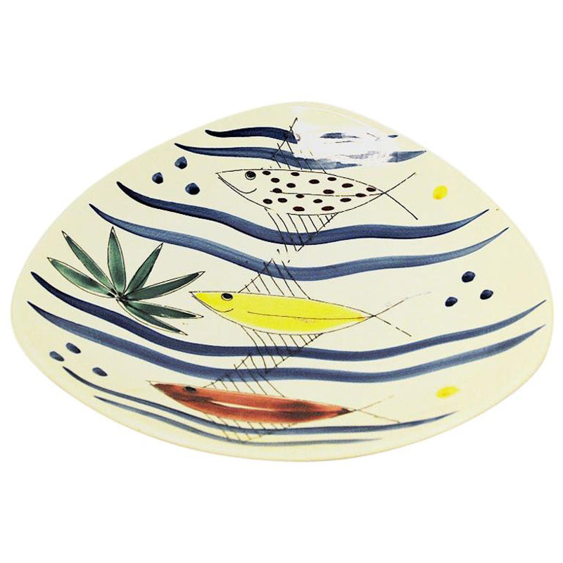 Ceramic dish with fish motives by Inger Waage, Stavangerflint Norway 1950s