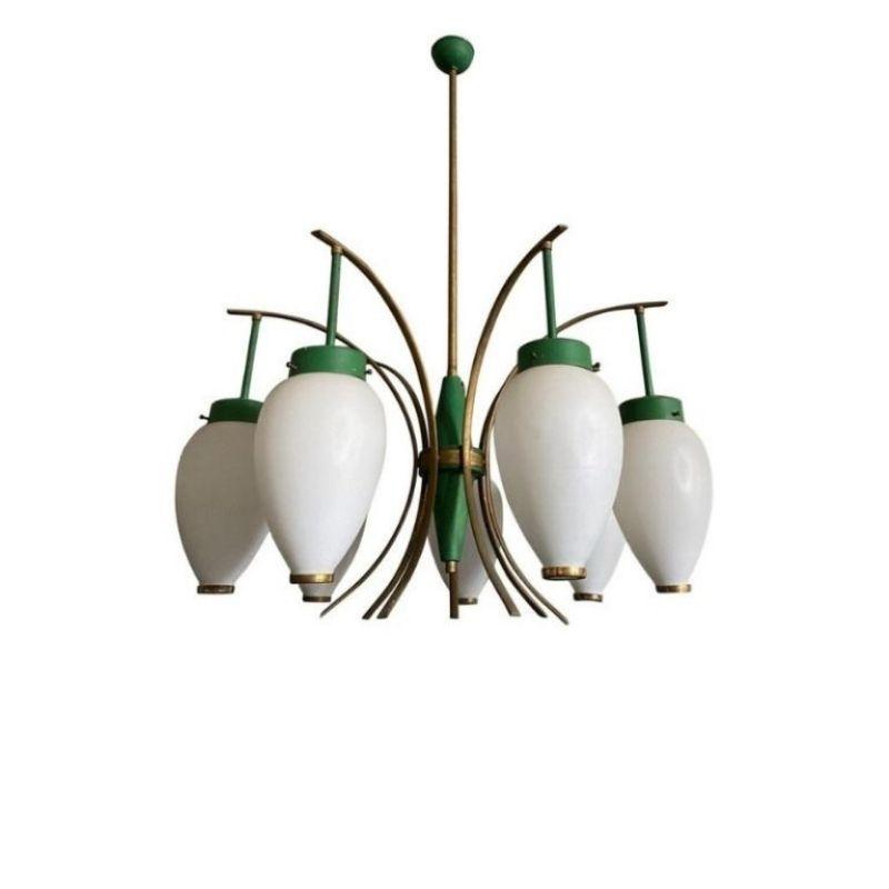 1960s Stilnovo Mid-Century Modern Brass and Glass Chandelier