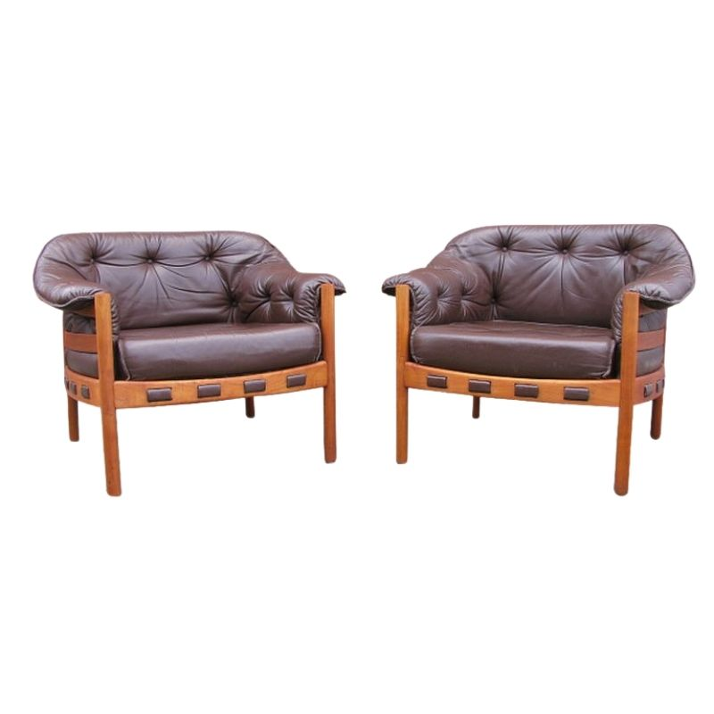 2 x Arne Norell teak and leather armchairs for Coja, 1960s