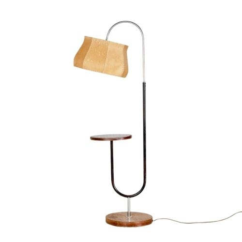 Art Deco Metal and Wood Floor Lamp by Jindřich Halabala for UP Závody, 1930s