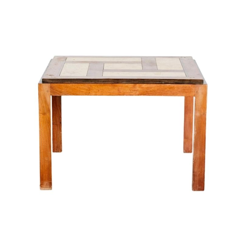 Coffee Table with Wood and Marble Inlay