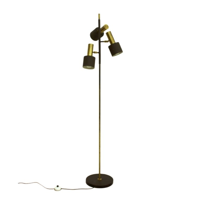 Danish Brass & Brown Lacquered Metal 3-Arm Floor Lamp by Johannes Hammerborg for Fog & Mørup, 1960s