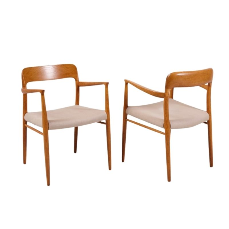 Model 75 Armchairs by Niels Otto Møller for J.L. Møllers, 1950s, Set of 2