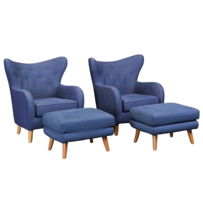 Pair of Vintage Danish Armchairs with Footstools
