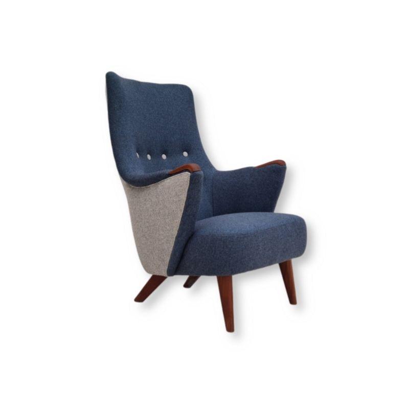 Danish design, 60s, restored armchair, Nevotex furniture wool