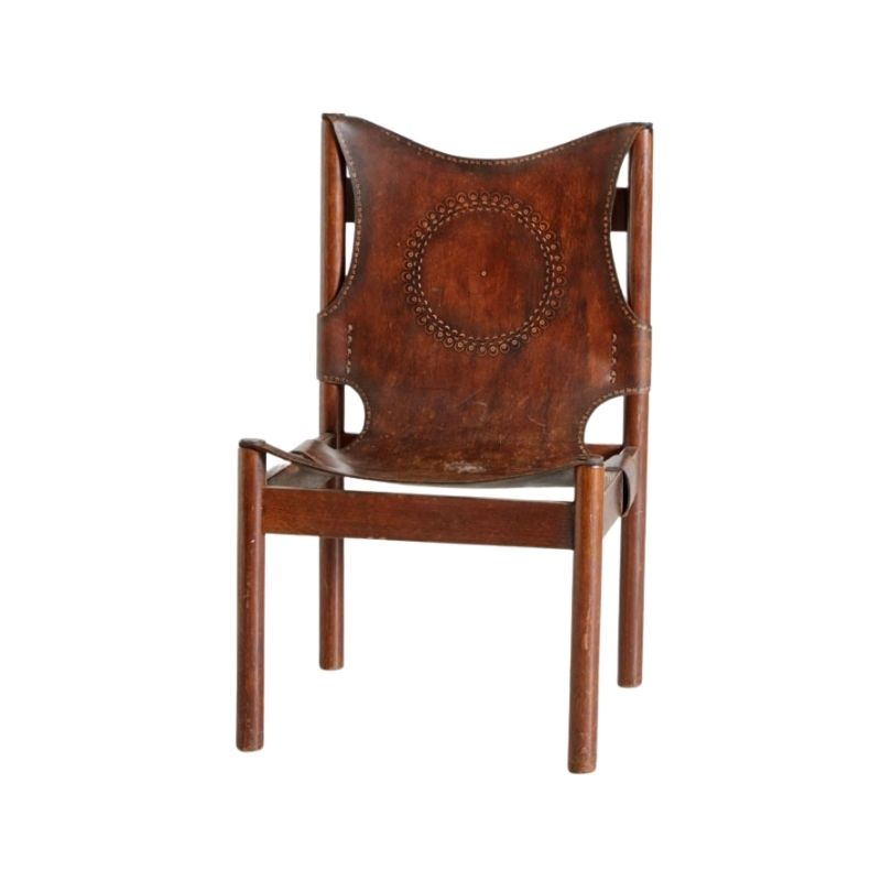 Vintage Leather Lounge Chair with Folkloric Motifs, 1976