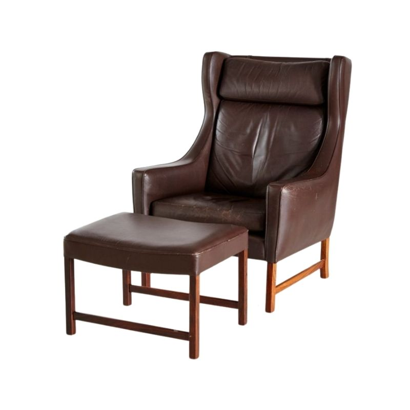 Rosewood & Leather 965H Reading Armchair & Ottoman by Fredrik A. Kayser for Vatne Møbler, 1960s