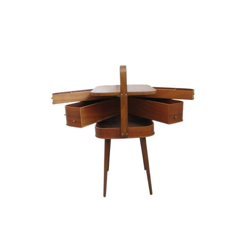 Mid Century Sewing Box With / Asystent / Side table. Teak 1960 / 70 S