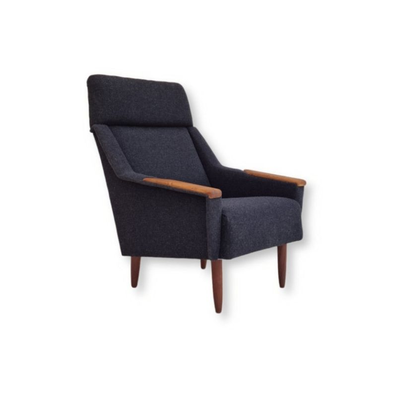 Danish high-backed armchair, completely restored, 70s