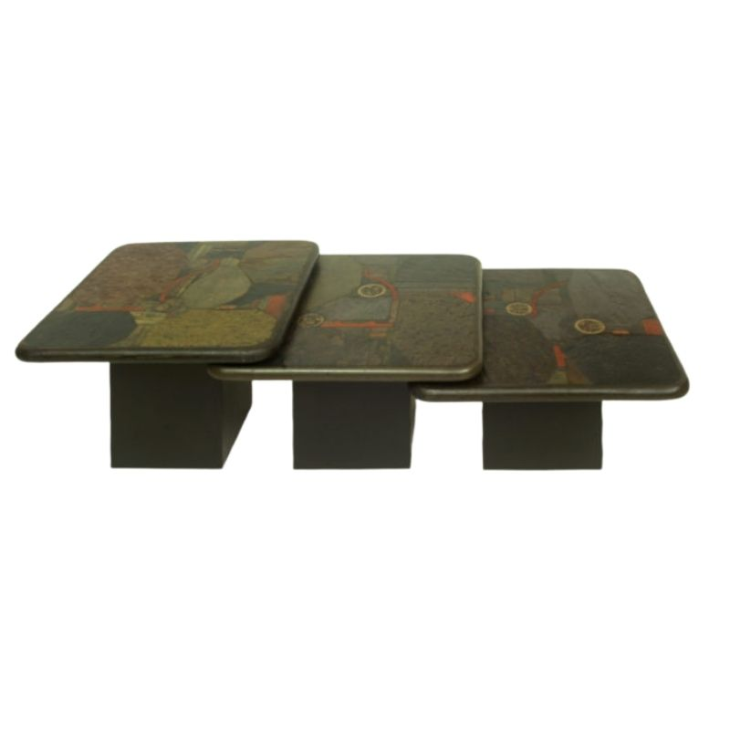 Set Of 3 German Brutalist Nesting Tables by Paul Kingma for C. Kneip, 1991