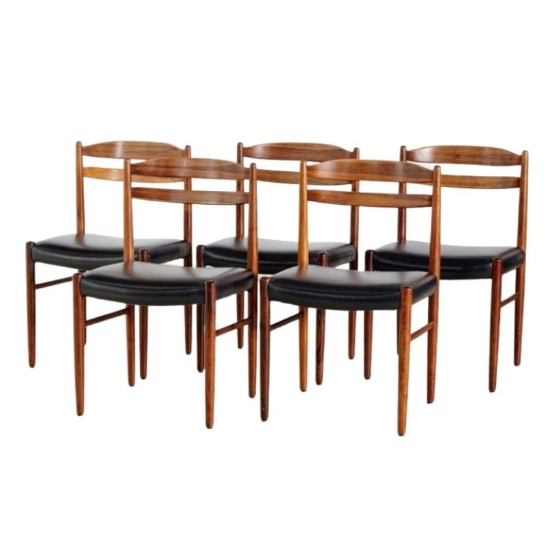Set of 5 Rosewood Dining Chairs by Carl Ekström for Albin Johansson & Söner, 1960s