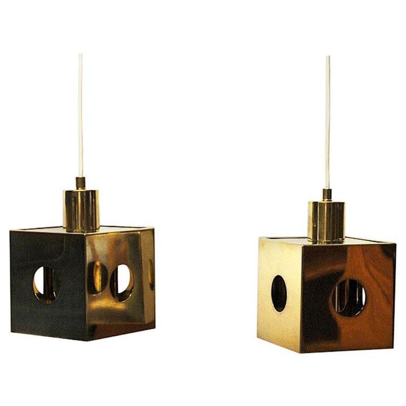 Brass pair of ceiling and window pendants Scandinavia 1960s