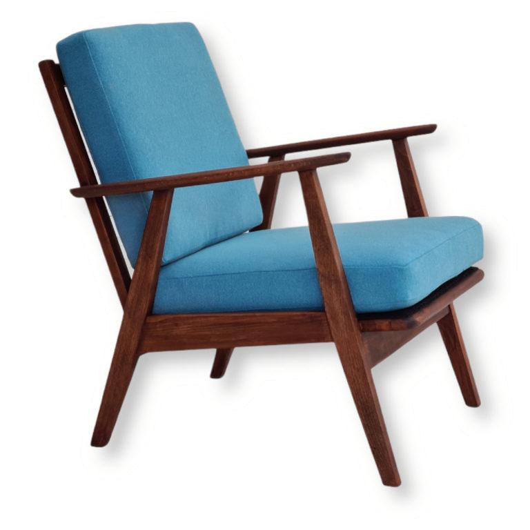 Danish design, 60s, restored armchair, Trevira furniture fabric