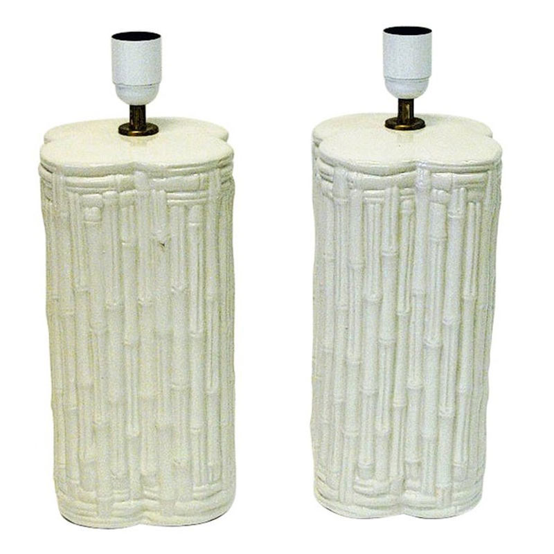 Pair of great beige Italian ceramic tablelamps 1980s