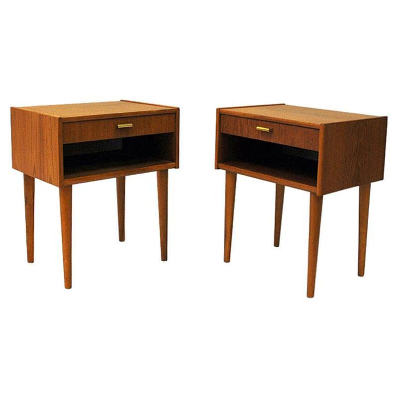 Midcentury Teak night tables pair from Sweden 1950/60s