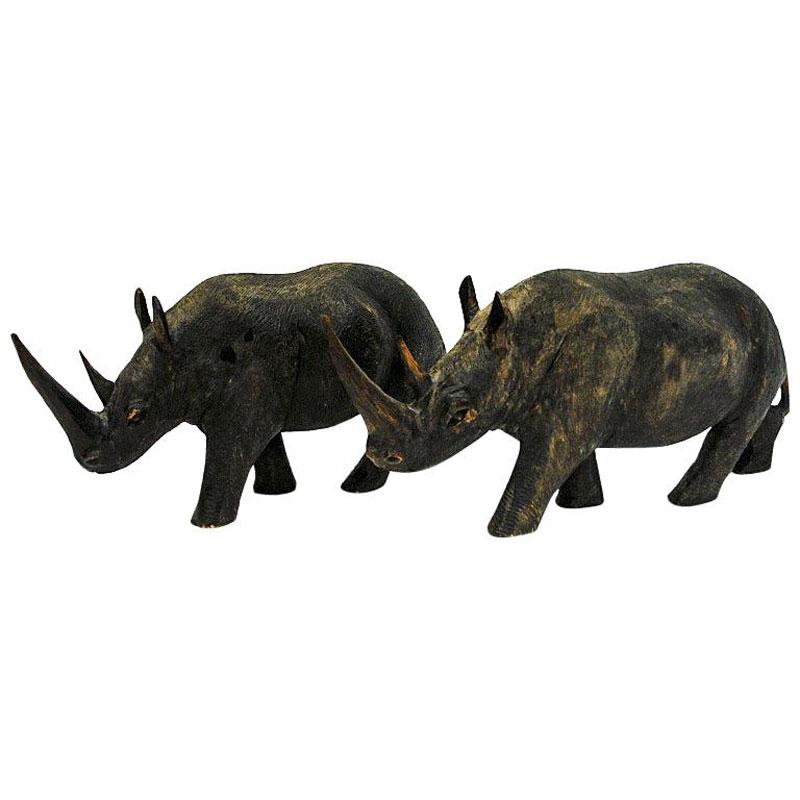 Beautiful grey vintage Rhino pair of wood 1940s