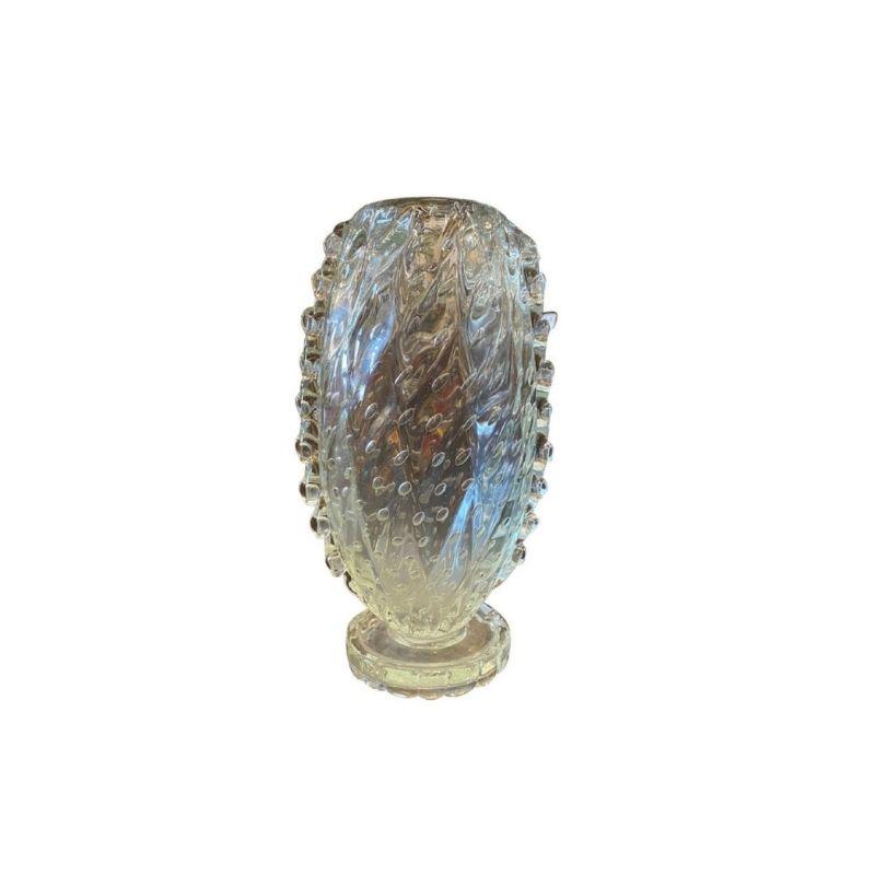 1950s Barovier & Toso Translucent Bullicante Murano Glass Tall Vase