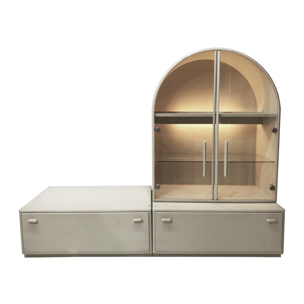 Arched Dominanta Display Unit Cabinet 80s Mid-century Vintage Hollywood Regency