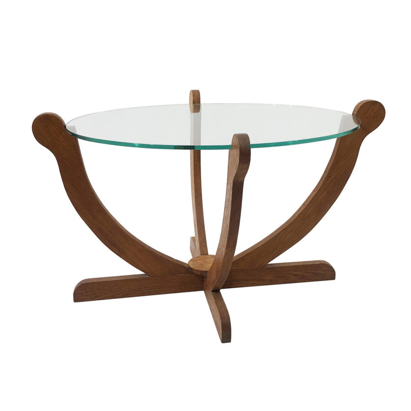 Art Deco Oak glass side cocktail table
