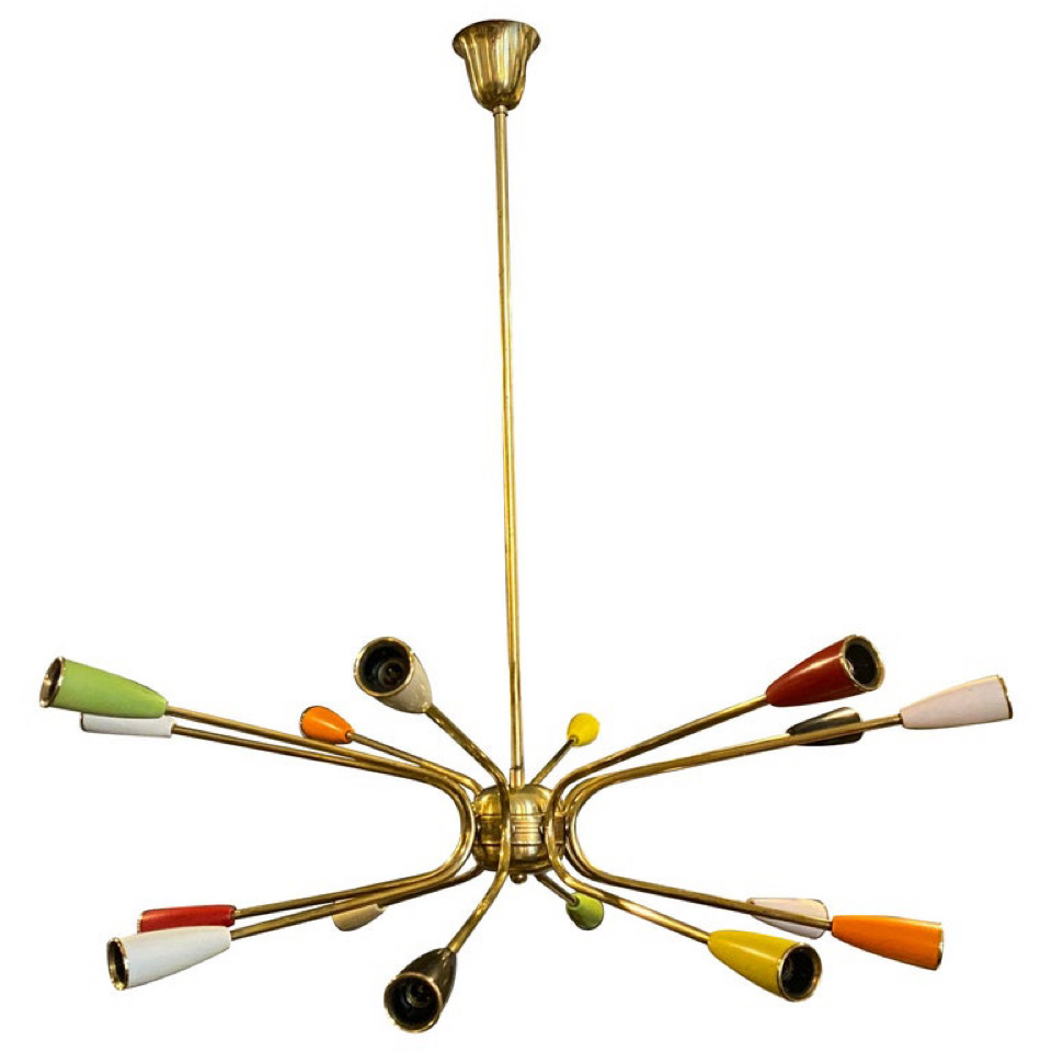 1960s Mid-Century Modern Sputnik Italian Chandelier in the Manner of Stilnovo