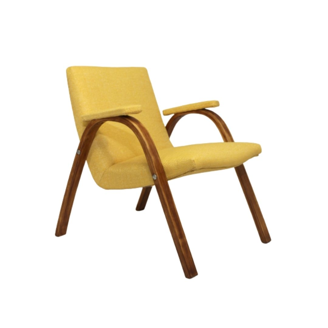 Bow Wood Armchair Steiner vintage 1950 fully restored fabric Kenzo.