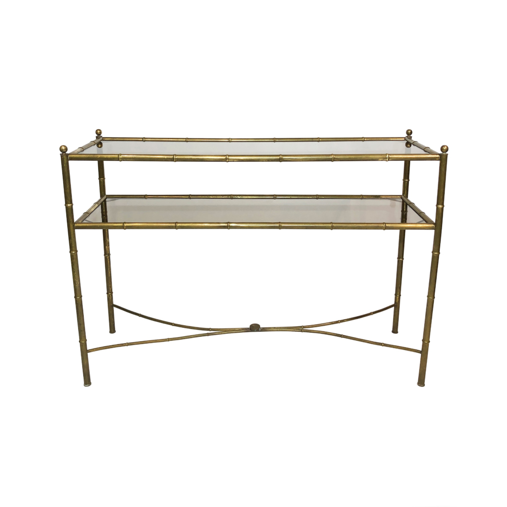 Brass Faux Bamboo Console Table smoked glass