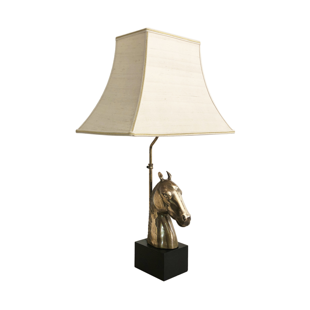 Brass Horse Chinoiserie Table Lamp 1970s Hollywood Regency Midcentury Antique