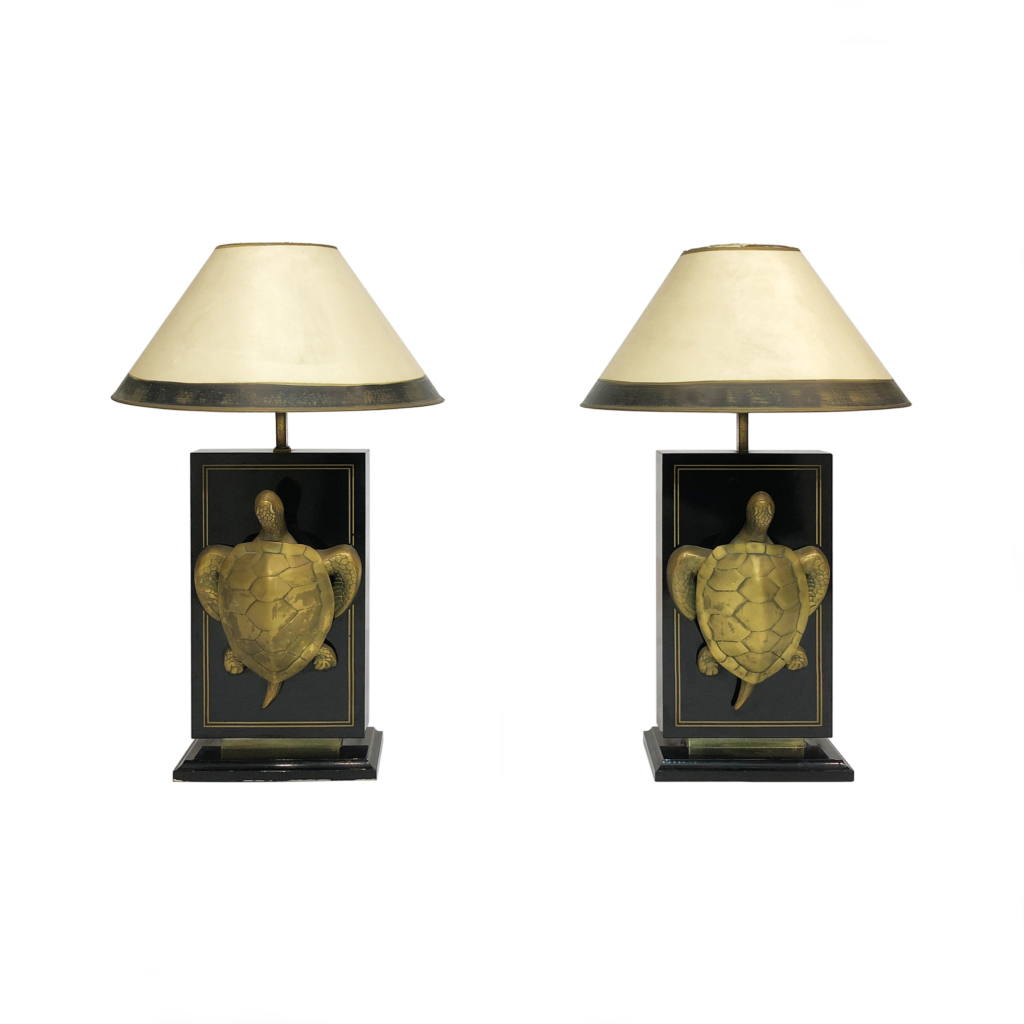 Brass Turtle Black Laqcuer Table Lamps