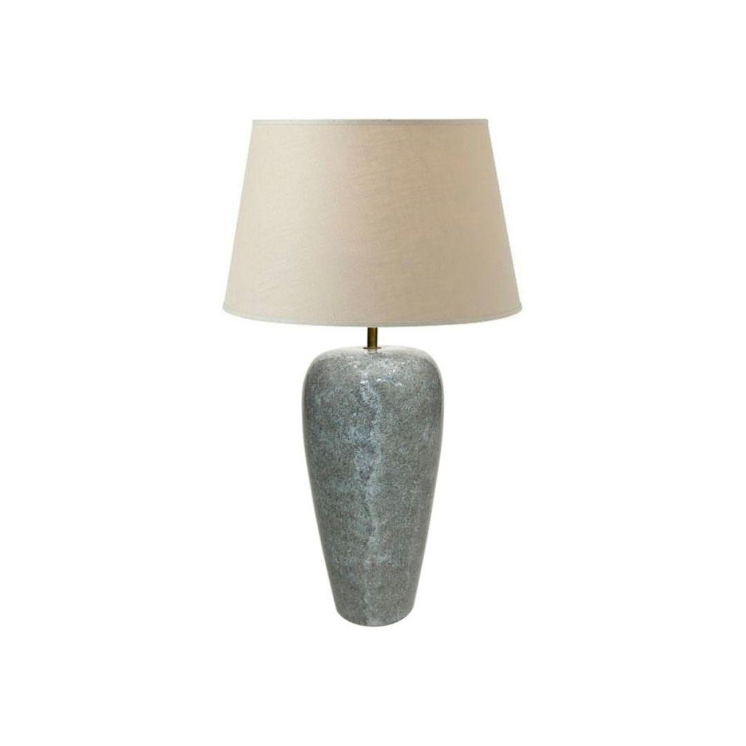 Ceramic 1980s Granite Effect Table Lamp 90s Blue Green Vintage Midcentury