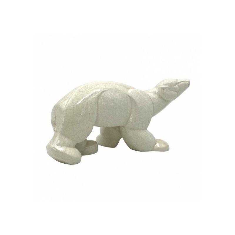 Charles Lemanceau, Art Déco Cubist Polar Bear craquelé, Saint-Clement, France ca. 1930