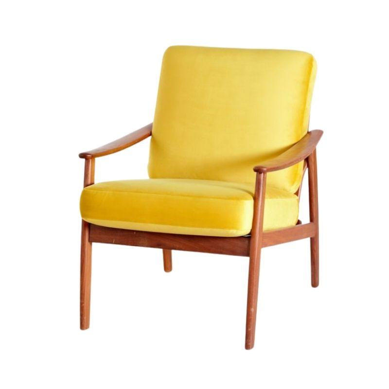 Danish Teak Armchair with New Yellow Velvet Upholstery, 1960s