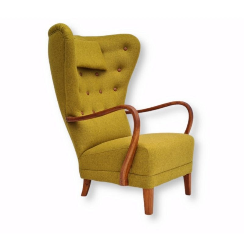 Danish design, 60s, restored-reupholstered high-backed armchair, furniture wool