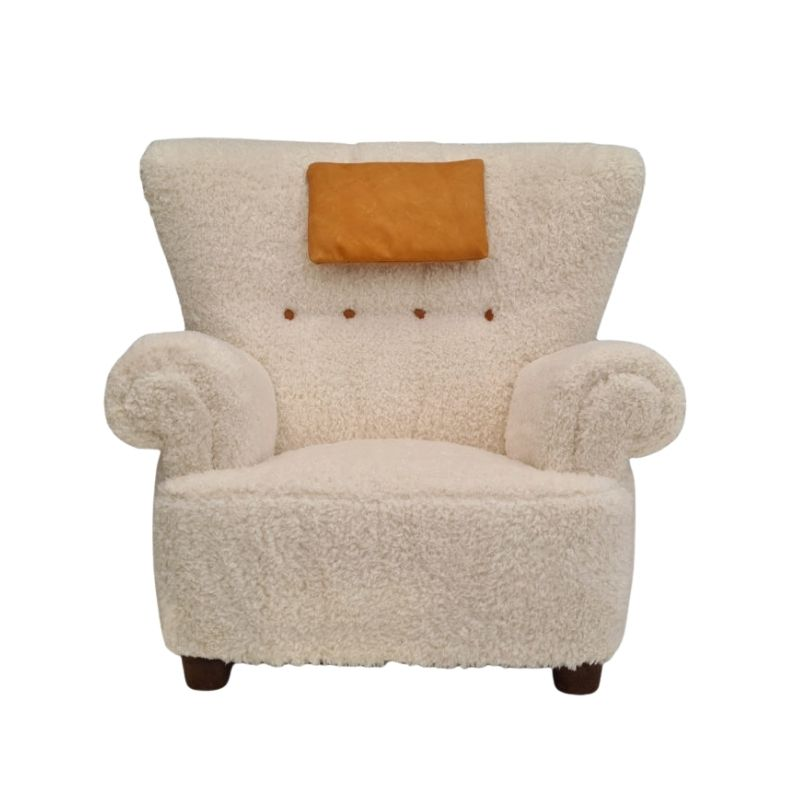 Danish design, reupholstered relax armchair, 50s, imitation lambskin