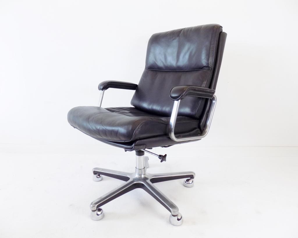 Drabert black leather office armchair 70s