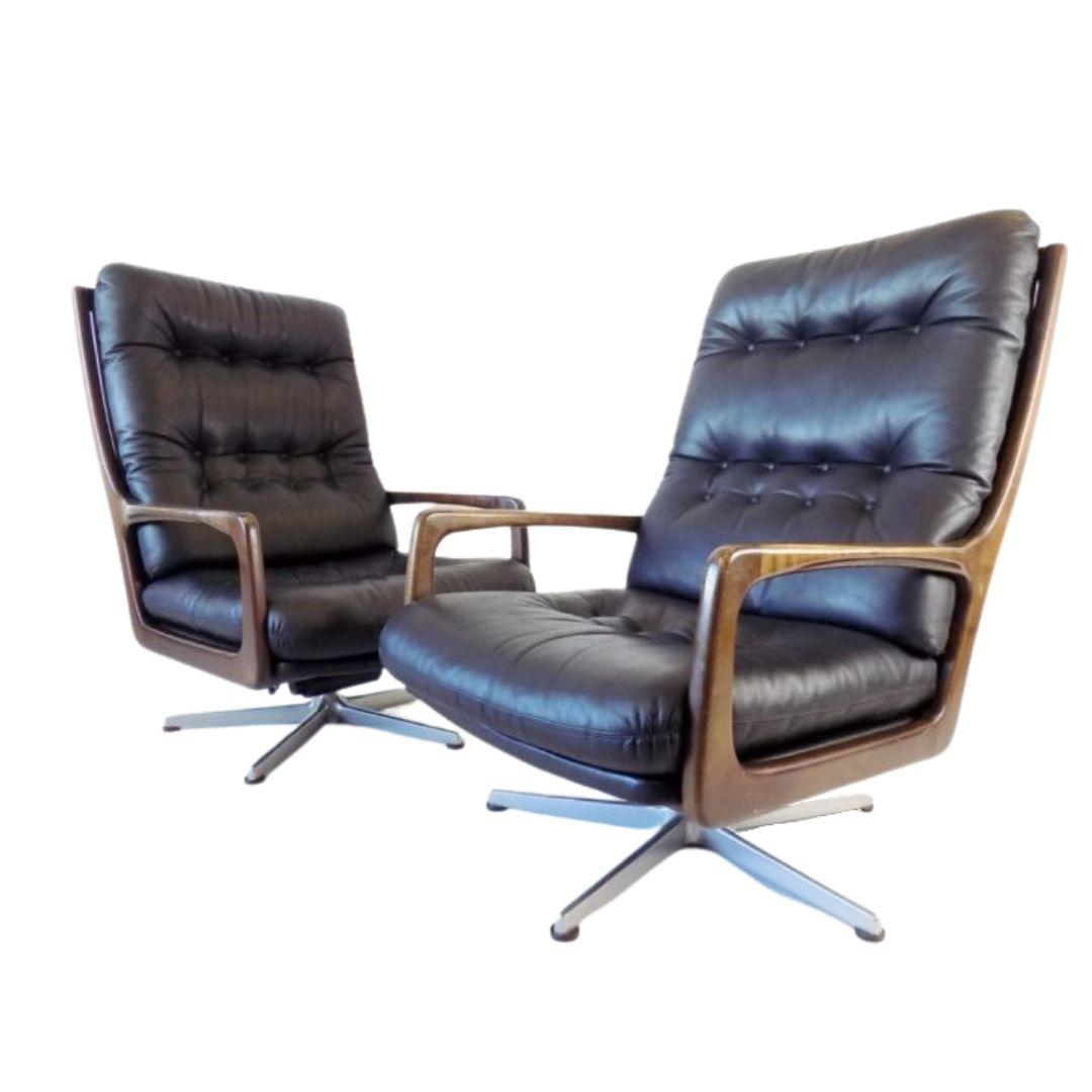 Eugen Schmidt set of 2 black leather armchairs for Soloform