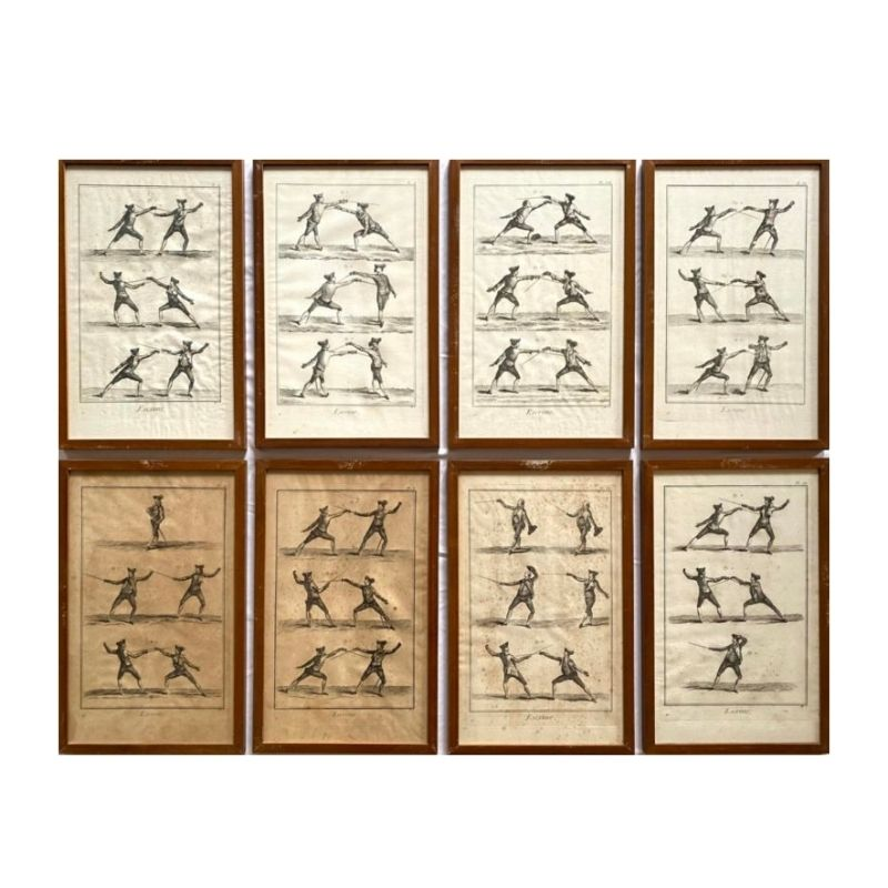 J.A.Defehrt and Bonaventure & Benoit-Louis Prevost, 'Escrime' Fencing Lithographs, Set of 8 framed plates, France, 1751