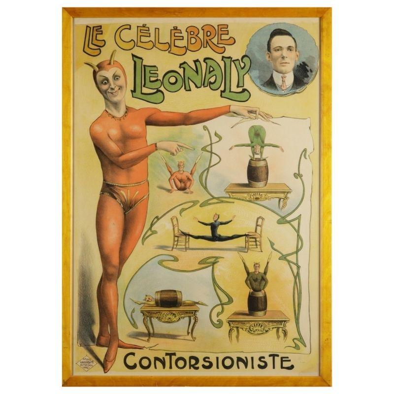 'Le Celebre Leonaly, Contorsioniste', Original manifesto, framed, c. 1895 Lithograph, Affiches Louis Galice, Paris