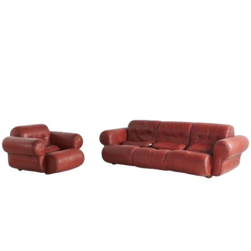 Leather Living Room Set, 1960s, Set of 2