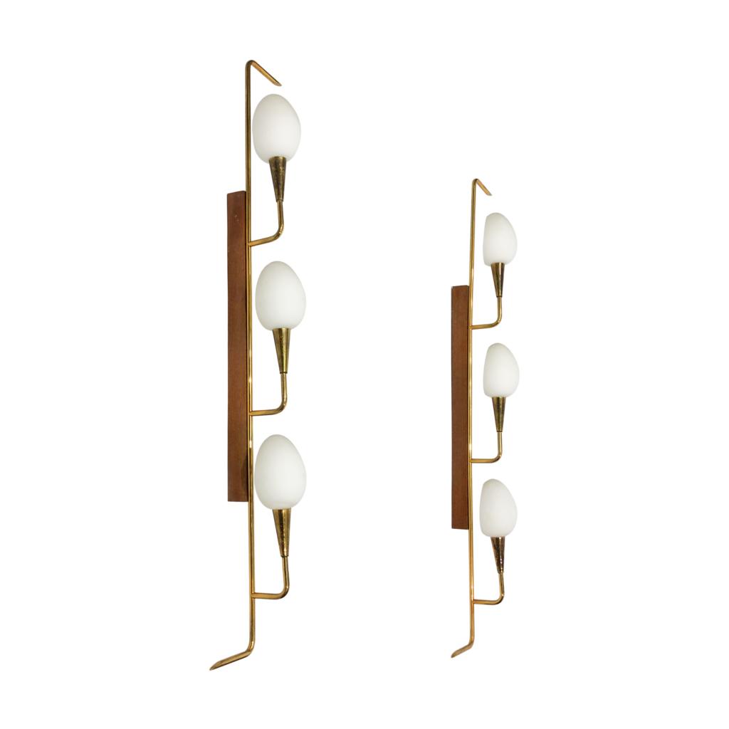 Midcentury modern teak brass wall lights