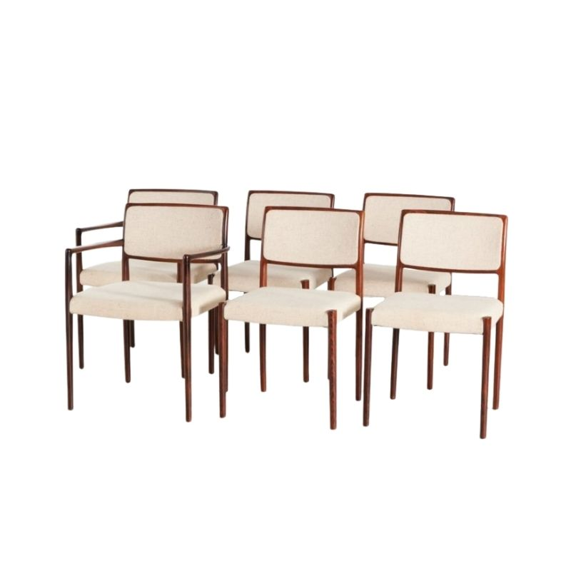Model 80 Rosewood Dining Armchairs by Niels O. Møller for J. L. Mollers, 1960s, Set of 6