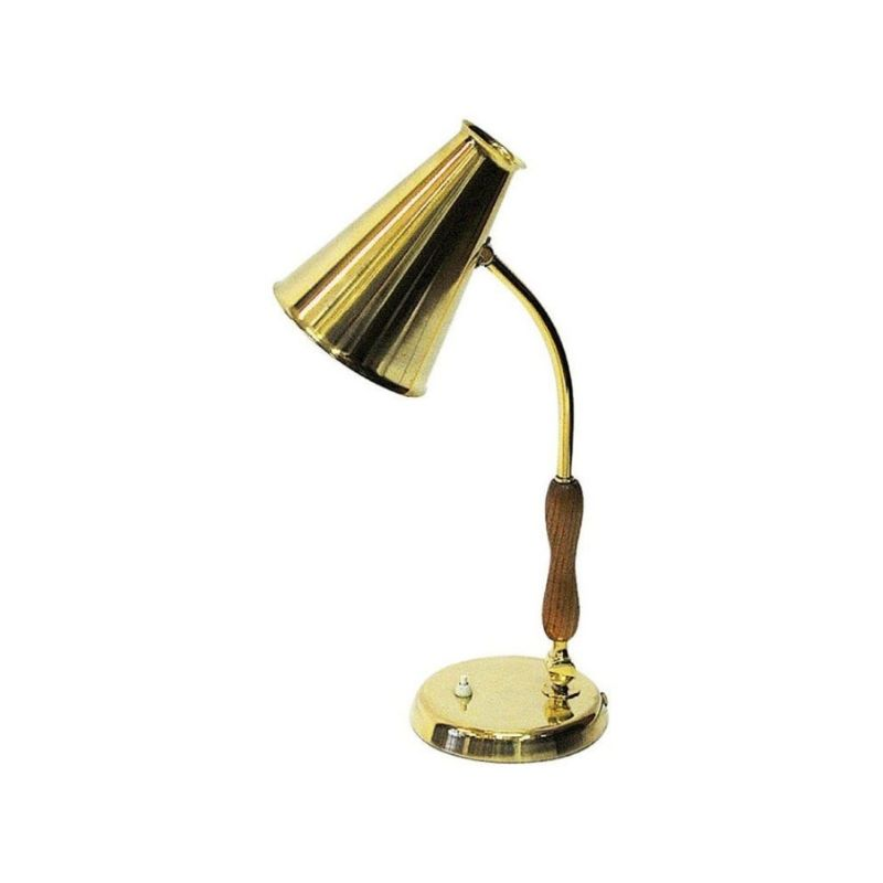 Oak and brass table and desk lamp by Asea, Sweden 1950s