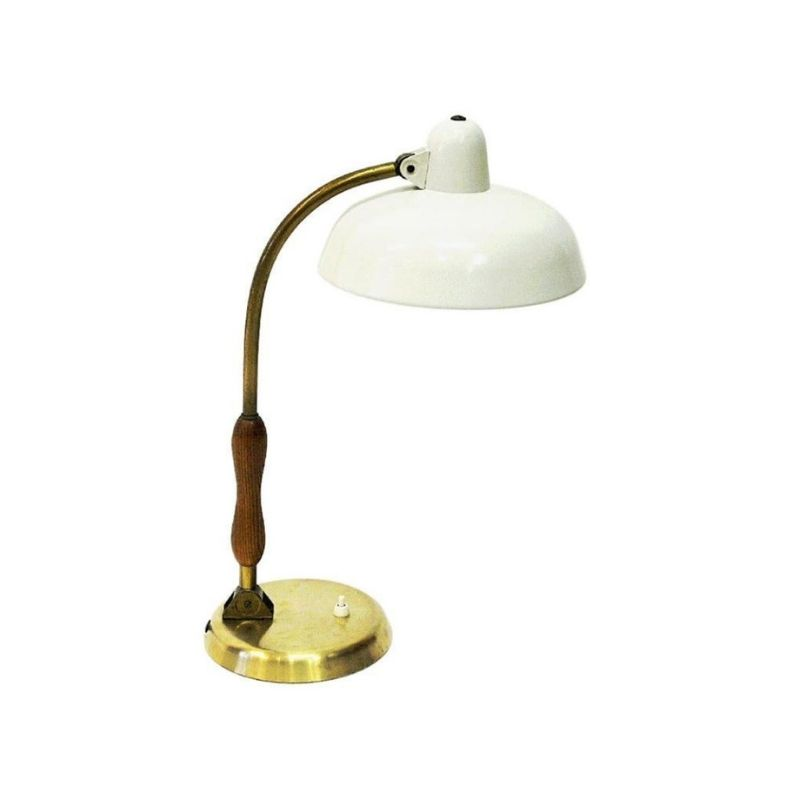 Oak and white metal table lamp by Asea, Sweden 1950s