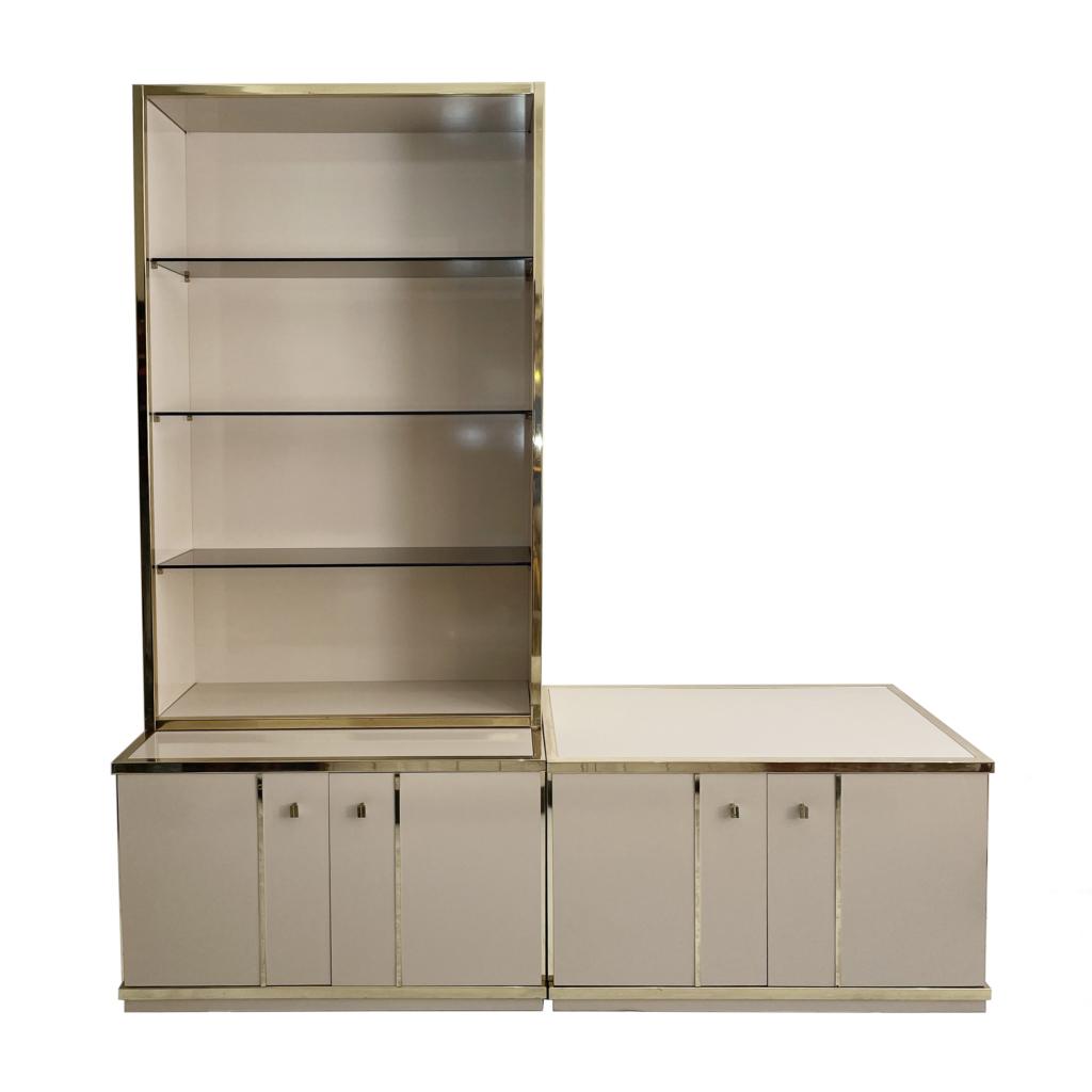 Renato Zevi Chrome Brass Display Cabinet smoked glass