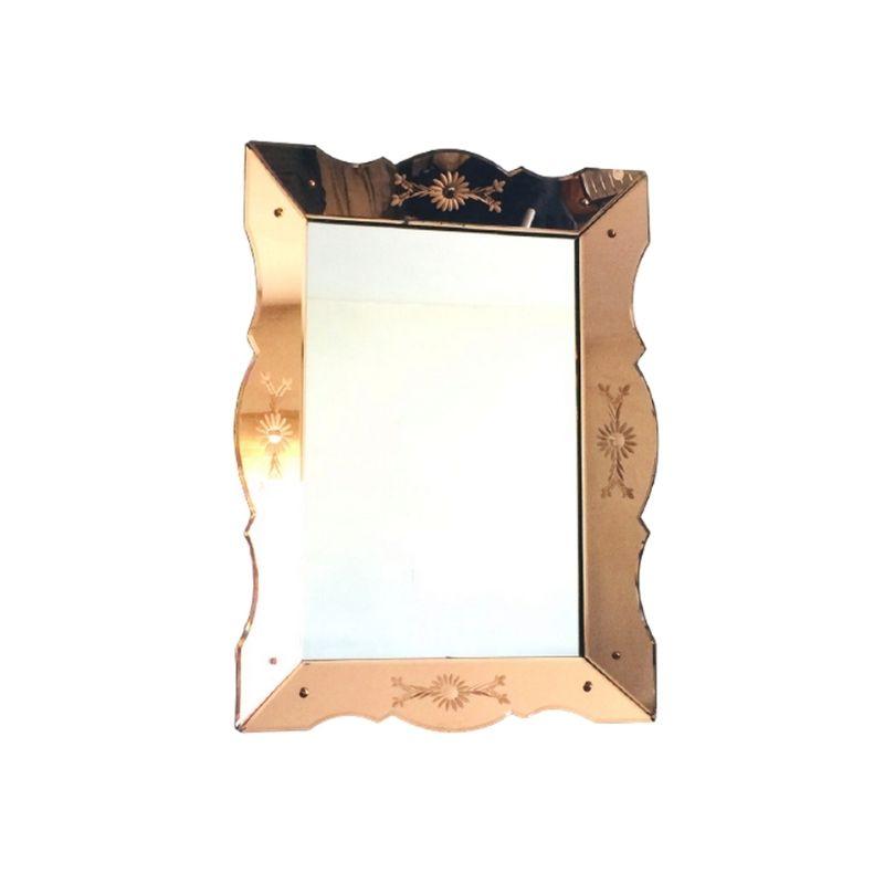 Rose glass Art Deco Venetian Style Mirror