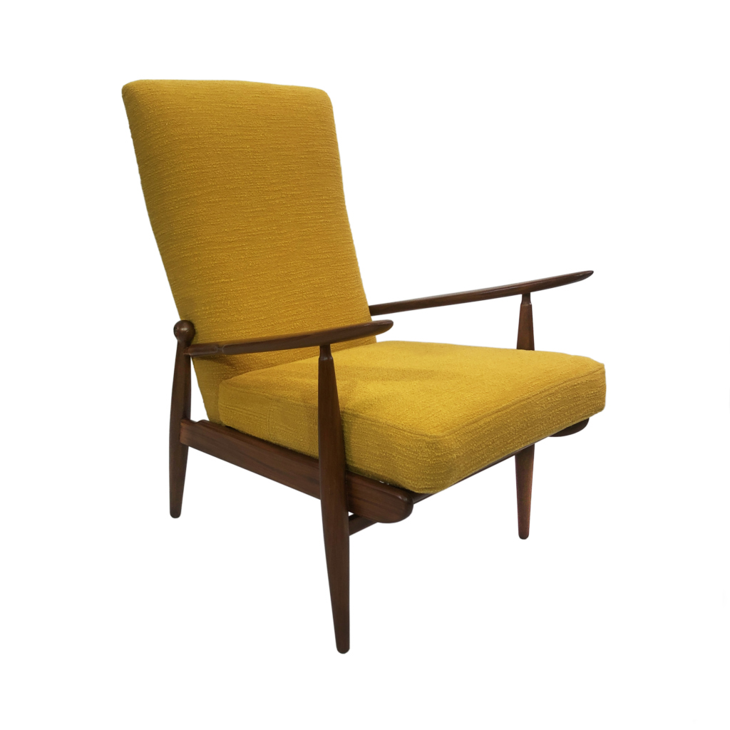 Scandart vintage high back upholstered armchair boucle yellow