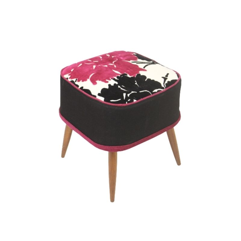 Stool in beech wood from the 50's with a beautiful fabric on the seat.