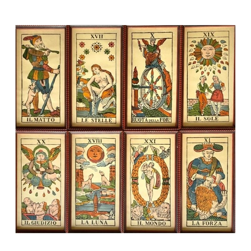 Tarots Cards framed Lithographs, Set of 8, Italy 1950